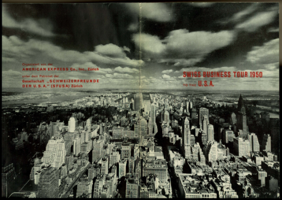 Programm Swiss Business Tour to the USA 1950: Deckblatt schwarz-weiss, Skyline mit Himmelkratzern